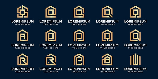 Set huislogo gecombineerd met letter r, q, e, b, w, ontwerpen sjabloon