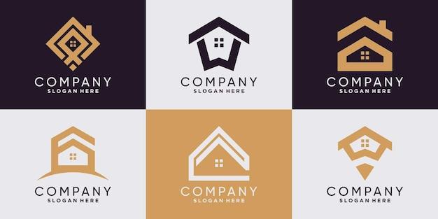 Set huislogo-ontwerpinspiratie voor zakelijk bedrijf en persoonlijk premium vector