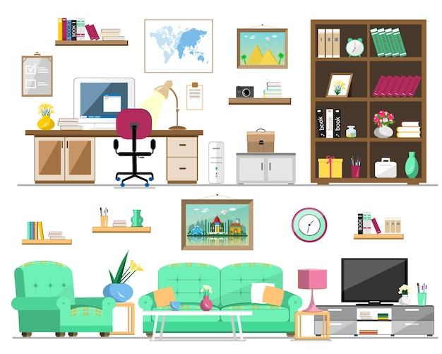 Set huismeubilair: boekenkast, bank, fauteuil, foto's, tv, lamp, computer, tafel, bloemen, klok, planken. interieur illustratie.