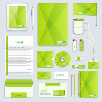 Set huisstijl sjabloon. modern briefpapiermodel. merkontwerp in de groene stijl.