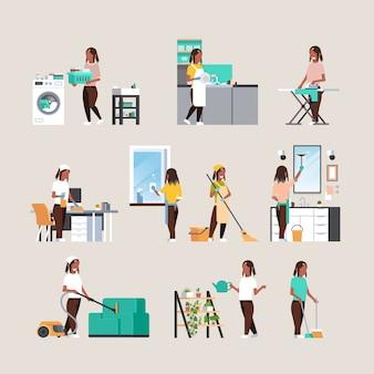 Set huisvrouw huishoudelijk werk doen verschillende schoonmaak concepten collectie vrouwelijke stripfiguren volledige lengte