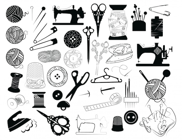 Set hulpmiddelen voor naaien en snijden. verzameling naaibenodigdheden.