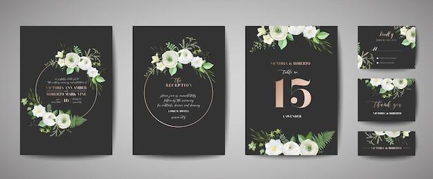 Set huwelijksuitnodiging, bloemen uitnodigen, dank u, rsvp rustieke kaart ontwerp met bladgoud decoratie. vector elegante moderne sjabloon, trendy omslag, grafische poster, retro brochure, ontwerpsjabloon