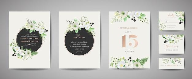 Set huwelijksuitnodiging, bloemen uitnodigen, dank u, rsvp rustieke kaart ontwerp met bladgoud decoratie. vector elegante moderne sjabloon, trendy omslag, grafische poster, retro brochure, ontwerpsjabloon Premium Vector