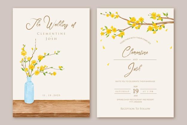 Set huwelijksuitnodiging met gele bloemen boomtakken achtergrond