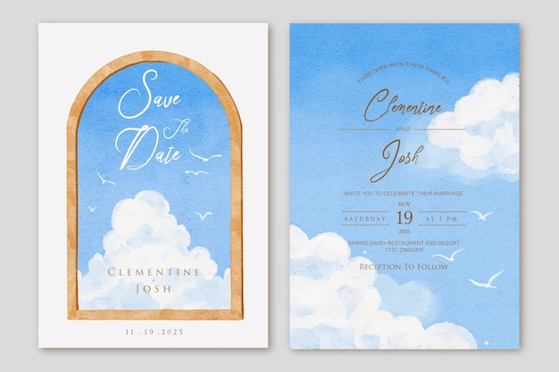 Set huwelijksuitnodiging met houten raam blauwe lucht panorama achtergrond