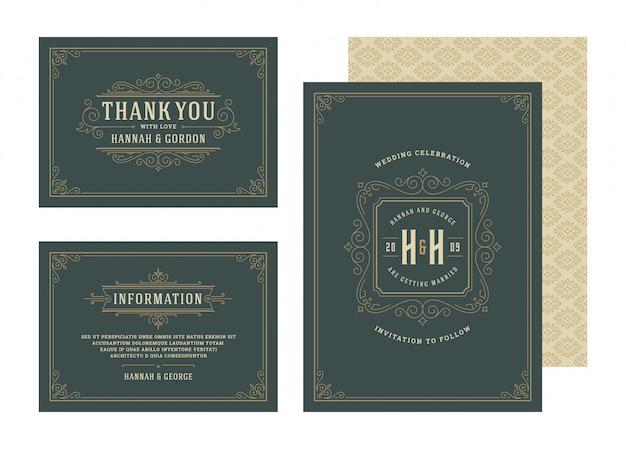 Set huwelijksuitnodigingen bloeit ornamenten kaarten sjabloon. nodig uit, bewaar de datum, bedankt en informatieontwerp