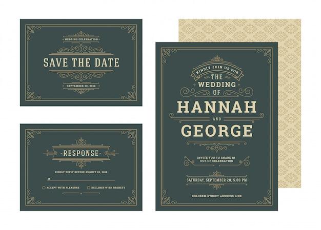 Set huwelijksuitnodigingen bloeit ornamenten kaarten sjabloon. uitnodigen, de datum en het reactieontwerp opslaan