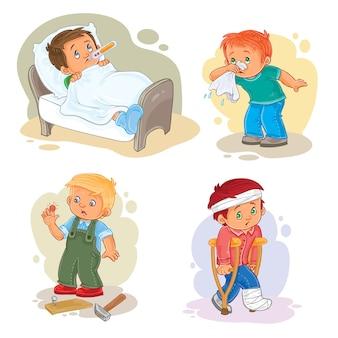 Set iconen kleine jongen ziek