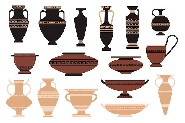 Set iconen oude amfora, museumkunst, galerijtentoonstelling. oude griekse of romeinse clay servies geïsoleerd op een witte achtergrond. historische potten, potten, vazen met ornament. cartoon vectorillustratie