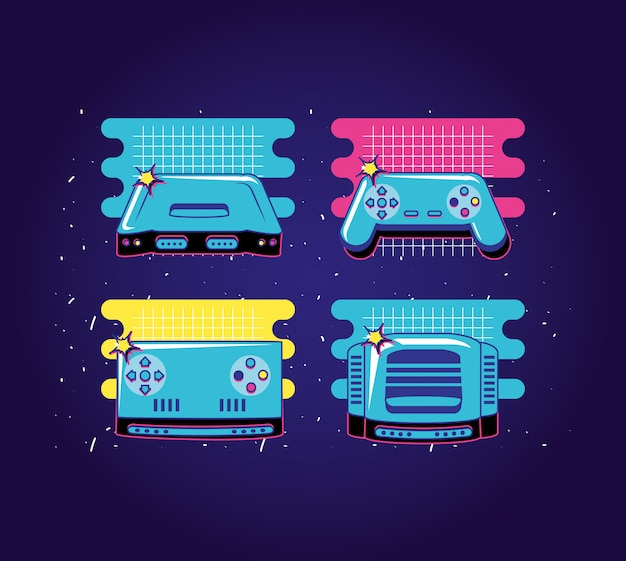 Set iconen van apparaten video game retro stijl