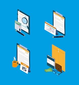 Set iconen van belastingdag