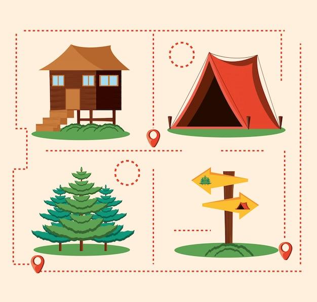 Set iconen van camping zone