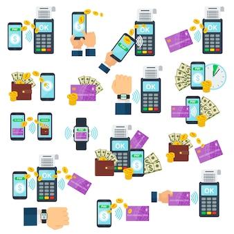 Set iconen van contactloos betalen met behulp van rfid- of nfc-technologie. koop producten of diensten via bankpas, creditcard of smartcard. tik op de kaart in de buurt van een betaalautomaat. tik en ga.