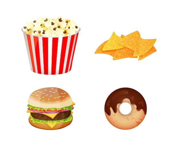 Set iconen van fast food geïsoleerd op een witte achtergrond. vlakke stijl.