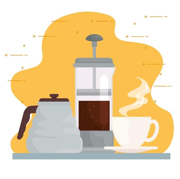 Set iconen van koffie zetten methoden ontwerp