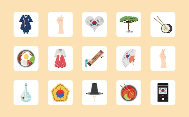Set iconen van korea