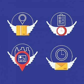 Set iconen van logistieke service