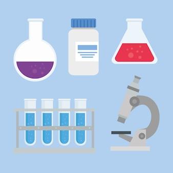 Set iconen van medisch vaccin onderzoek, wetenschappelijke viruspreventie studie illustratie