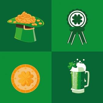 Set iconen van st patrick dag