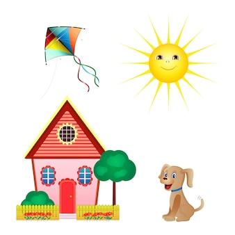 Set iconen van vlieger, zon, huis, hond geïsoleerd op een witte achtergrond. vlakke stijl.