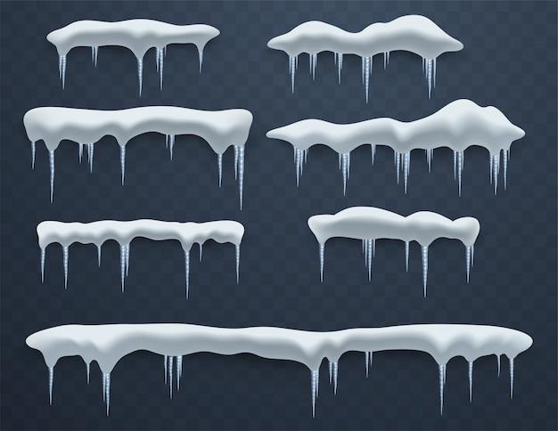 Set ijskappen. sneeuwbanken, ijspegels, elementen winterdecor, ijsdecoraties. realistische sneeuwmassa's.