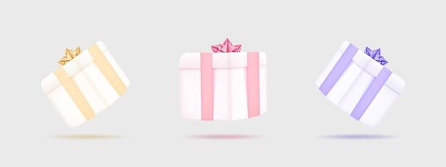 Set illustratie 3d-geschenkendoos vliegende geschenkdoos voor feestelijke geschenkverrassing