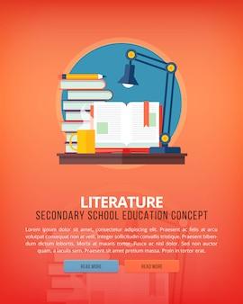 Set illustratie concepten voor literatuur. onderwijs- en kennisideeën. welsprekendheid en oratoriumkunst.