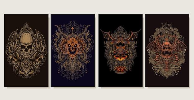 Set illustratie demon schedel hoofd met antieke gravure ornament