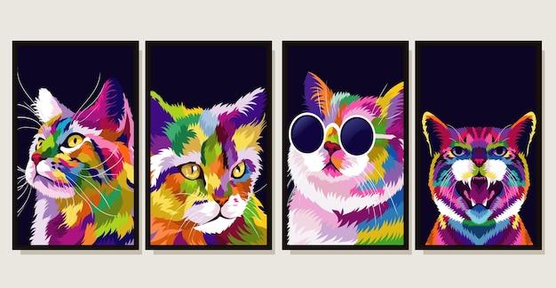 Set illustratie kleurrijke kat met pop-art stijl
