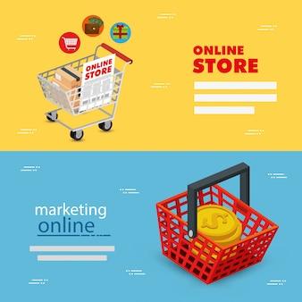 Set illustratie online winkel