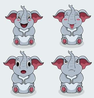 Set illustratie schattig olifant karakter