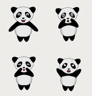 Set illustratie schattige panda karakter