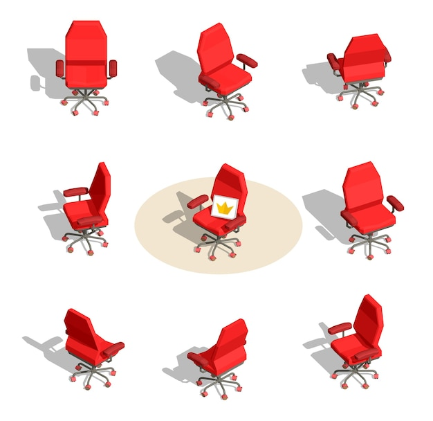 Set illustratie van rode office fauteuil met een teken in verschillende hoeken op een witte achtergrond met schaduw.