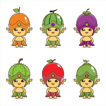 Set illustratie van schattige fruit mascotte oranje watermeloen appel avocado