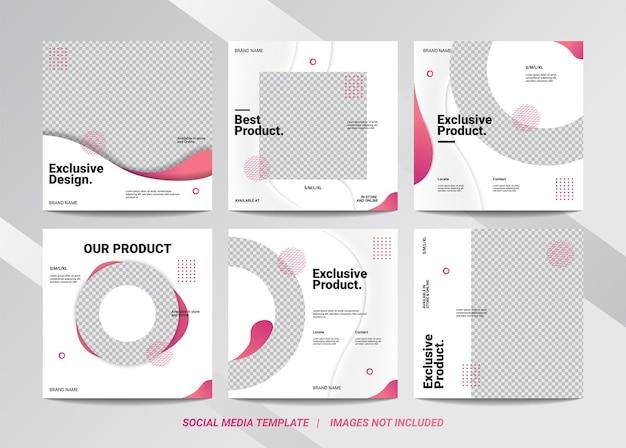 Set illustratie vectorafbeelding van social media template is een pakket minimalistische stijl met als doel uw merk te promoten om meer volgers te vergroten.