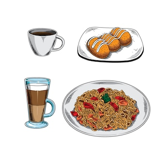 Set illustraties, koffie, ijskoffie, kroketten en noedels