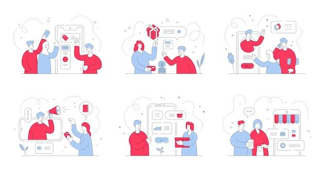 Set illustraties met moderne mannen en vrouwen die smartphones gebruiken en communiceren met managers tijdens het zoeken naar goede aanbiedingen in online winkels. stijl illustratie, dunne lijntekeningen