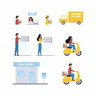 Set illustraties over het bezorgen van brieven en bestellingen. mensen sturen e-mails via hun mailbox. postkantoor en express levering per koerier. vector platte mens.