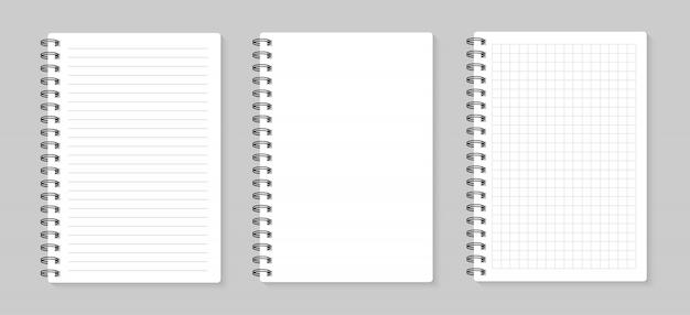 Set illustraties vellen papier. gevoerd en vierkant, op grijze achtergrond