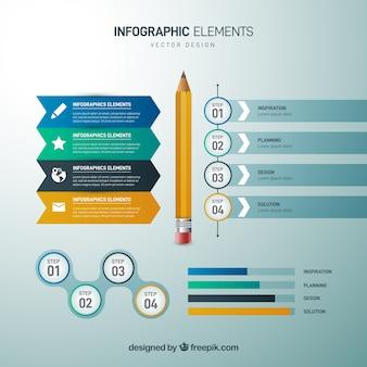 Set infographic elementen in realistische stijl