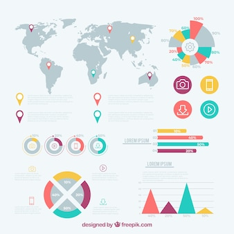 Set infographic elementen in vlakke stijl