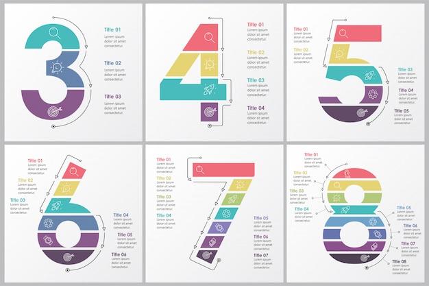 Set infographic ontwerpsjabloon met 3, 4, 5, 6, 7, 8 opties of stappen. bedrijfsconcept.