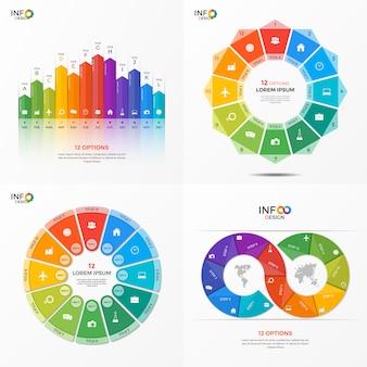 Set infographic optiesjablonen