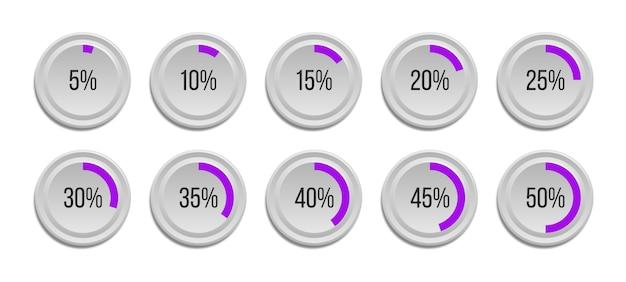 Set infographic percentage cirkeldiagrammen geïsoleerd op een witte achtergrond. segment van cirkelpictogrammen 10% - 100% voor webdesign, gebruikersinterface (ui) of infographics.