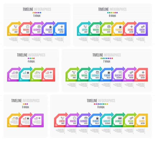 Set infographic tijdlijnen, presentatie, rapportkarakter,