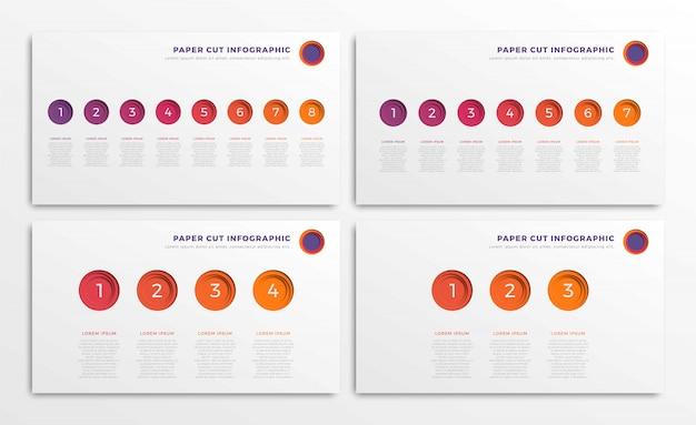 Set infographic tijdlijnsjablonen met ronde realistisch