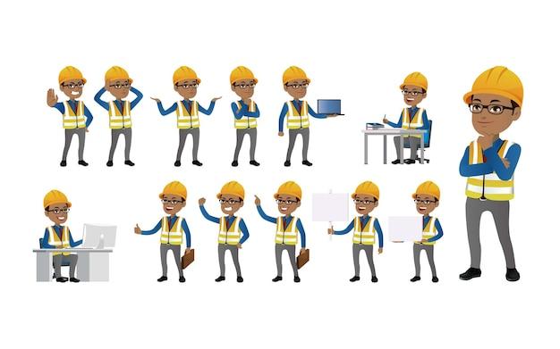 Set ingenieur met verschillende poses