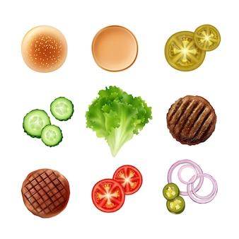 Set ingrediënten voor hamburger met broodje
