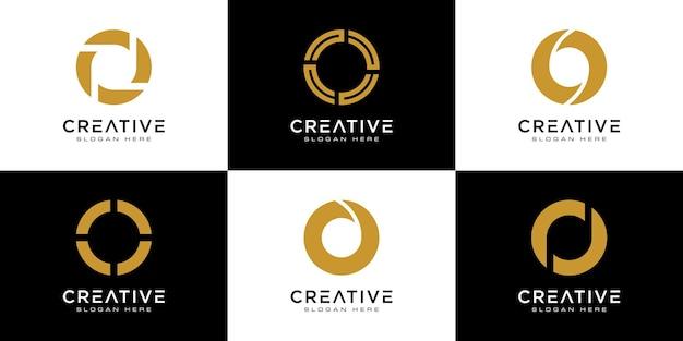 Set initialen letter o abstract logo-ontwerp